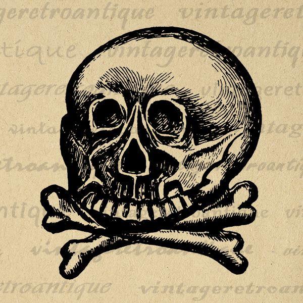 Skull and Crossbones Digital Graphic Download Image Printable Artwork Jpg Png Eps  HQ 300dpi No.2254 @ vintageretroantique.com #DigitalArt #Printable #Art #VintageRetroAntique #Digital #Clipart #Download
