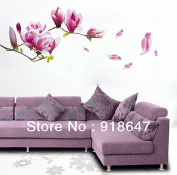 On Sale DIY Big Size Removable Flower Home Art Decor Wall Stickers Chaste Magnolia Purple Wall Stickers Mural Wall Paper
