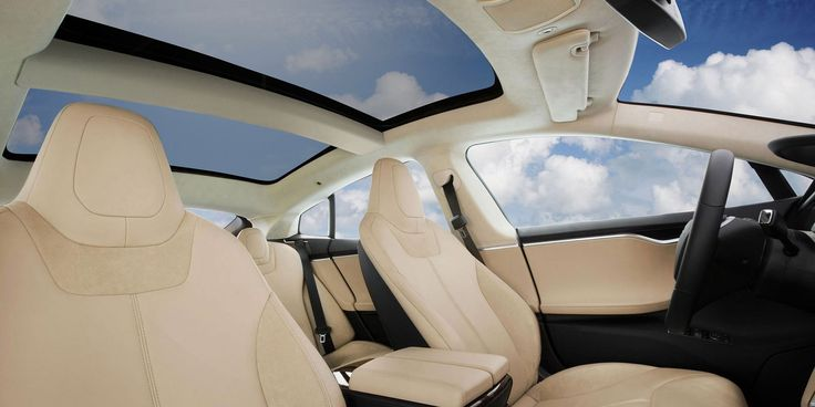 Model S | Tesla Motors tan interior, matte obeche wood trim, all glass panoramic roof