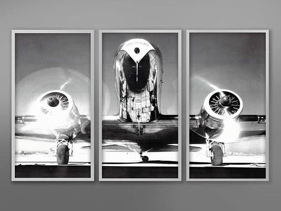 Airplane Triptych Vintage Aircraft Vintage Airplane Aviation Photography Monochrome Photo Black And White Photography Military Art Triptych Three Piece Wall Art Triptych Wall Art