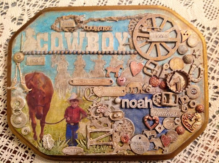 "My happy art ""our cowboy "" Artist: Shelley Keeble  Mixed media on wood"