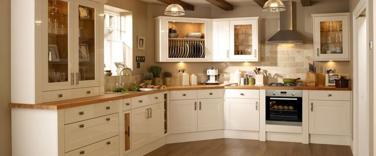Burford Gloss Cream Kitchen Range | Kitchen Families | Howdens Joinery - Castle Bank Kitchen.