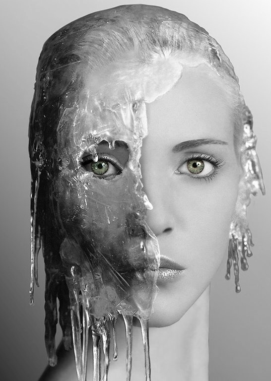 Nadia Auermann wearing a mask made of ice for the Pirelli calendar by Irving Penn