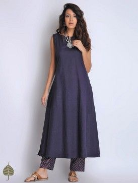 Navy Sleeveless Cotton Dress/Kurta by Jaypore