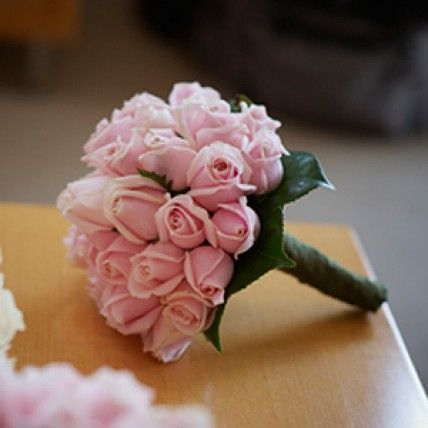 Bridesmaid Bouquet - Pale pink roses with camellia leaves