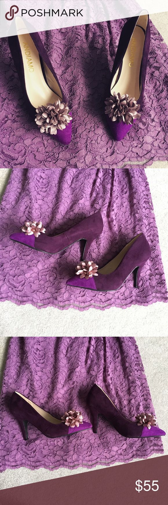 Andiamo Purple Suede Flower Toe Heels 7 NWOT NWOT. These gorgeous unique heels are brand new! They have some scuff marks from sitting in the box for so long but they have never been worn. They come with the box, but the box is a little bent. Size 7. Andiamo Shoes Heels