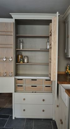 Kit Stones Suffolk larder unit, hand painted in Dove Grey with the suble Honed Slate on the inside. Love the accents of the wood against the paint!