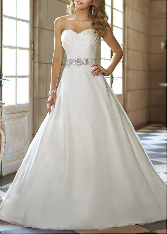 Graceful Organza Satin & Satin A-line Strapless Sweetheart Natural Waist Ruched Wedding Dress With Manmade Diamonds