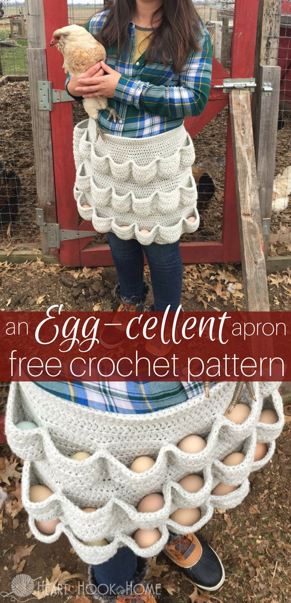 """Crochet Homesteading Chicken Egg Gathering Apron Homesteading  - The Homestead Survival .Com     """"Please Share This Pin"""""""