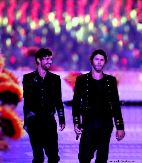Jason Orange & Howard Donald at the Olympics closing ceremony