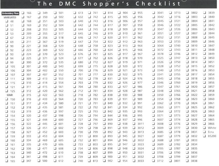 floss checklist | DMC EMBROIDERY FLOSS NUMBER « EMBROIDERY & ORIGAMI