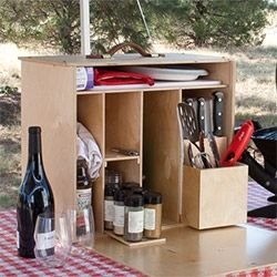 My Camp Kitchen ~ Mini Chef! Everything you need can fit into a simple set up made of  9 mm Baltic birch plywood that opens up like your kitchen next to your grill!