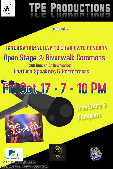 Open Stage speakers and performers featuring poverty issues for International Day for the Eradication of Poverty