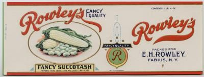 ROWLEY'S Vintage Fancy Succotash Can Label