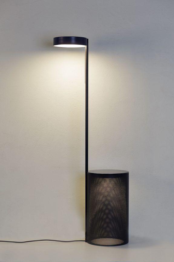 two metal floor lamp table