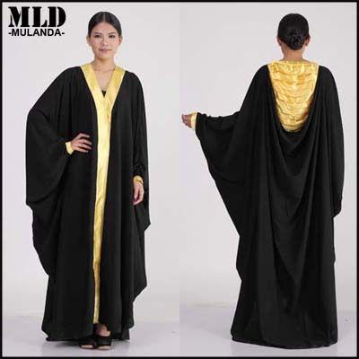 Женщины abayas мусульманский исламская abayas мусульманский длинная черный арабские одежда шифон дубай кафтан платье в форме крыла летучей мыши абая