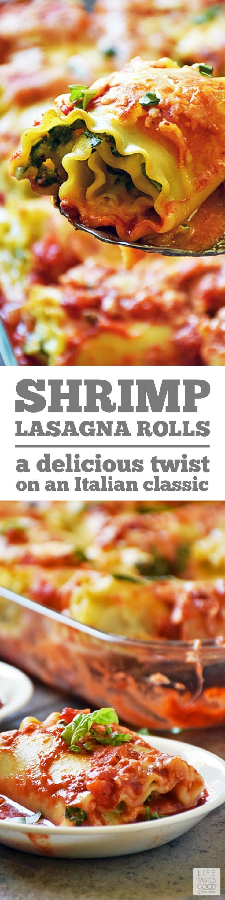 Madison's Shrimp Lasagna Rolls lightens up what is traditionally a heavier dish and gives you a portion controlled serving of the traditional Italian classic lasagna recipe. This easy recipe uses fresh ingredients to maximize flavor and is a real crowd pleaser! #LTGrecipes