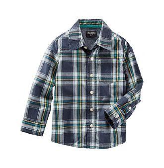 OshKosh B'Gosh® Boys' 2T-7 Long Sleeve Plaid Woven Top
