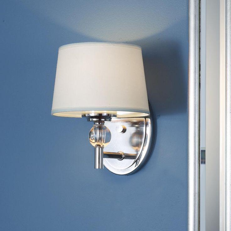 Bathroom Wall Sconces: Crystal Accent Polished Nickel Bath Sconce