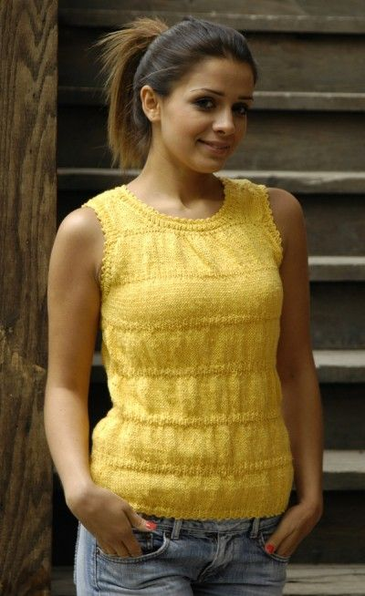 """Wave Runner Tank Free Knitting Pattern  Knit a pretty textured tank for summer featuring linen yarn from Fibra  Natura. Download the free pattern below and enjoy a knit-now project.  Skill:Intermediate  Sizes:XS (S, M, L, XL, XXL) to fit bust size 28 (32, 36, 40, 44, 48)"""" Finished L"""