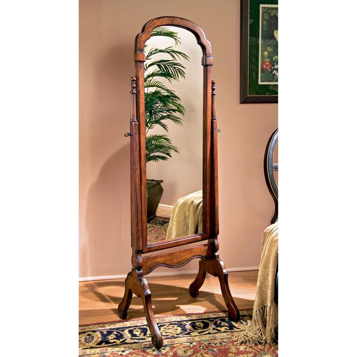 Rich Cherry Traditional Detailed Cheval Mirror - 15W x 60H in. | from hayneedle.com