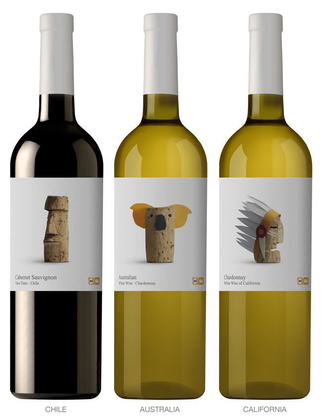 This is a range of wines that the Belgian supermarket chain Delhaize offers within its own 365 brand, which includes basic, everyday products at an affordable price. Designed by Lavernia & Cienfuegos Diseño, Spain.