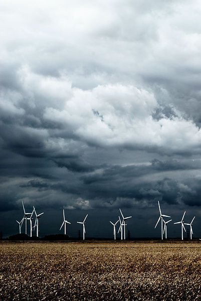 Wind turbines,Dungeness, Kent, England,UK  .LOVE those dark clouds.