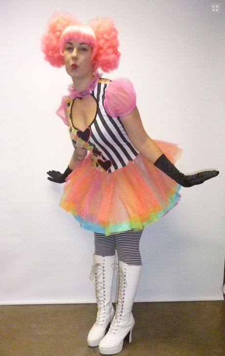 Harlequin Clown costume available for hire in store. Available in small and medium.