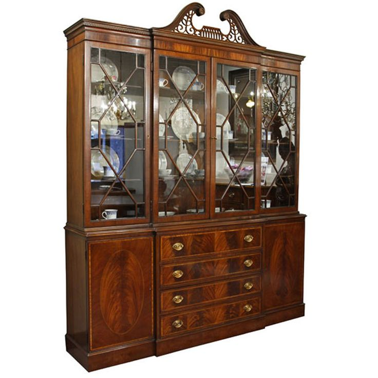 Antique Breakfront Crotch Mahogany China Cabinet Hutch - 19 Best China Cabinets Images On Pinterest Furniture Makeover
