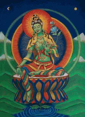 Déesse Tara verte spirituelle art méditation par HalstenbergStudio