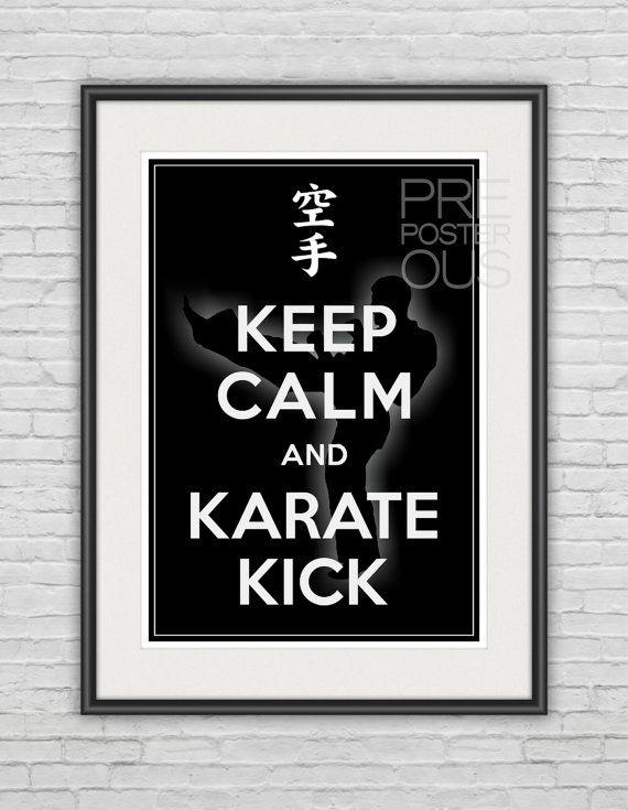 "A3 / Keep Calm and Karate Kick / Customizable / Karate Poster / 11.7""x16.5"" (297x420 mm) / Art Print / Whimsical / Sport / Black & White"
