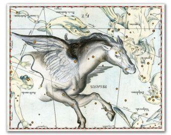 Zodiaco firmar la Constelación Virgo vintage por DejaVuPrintStore