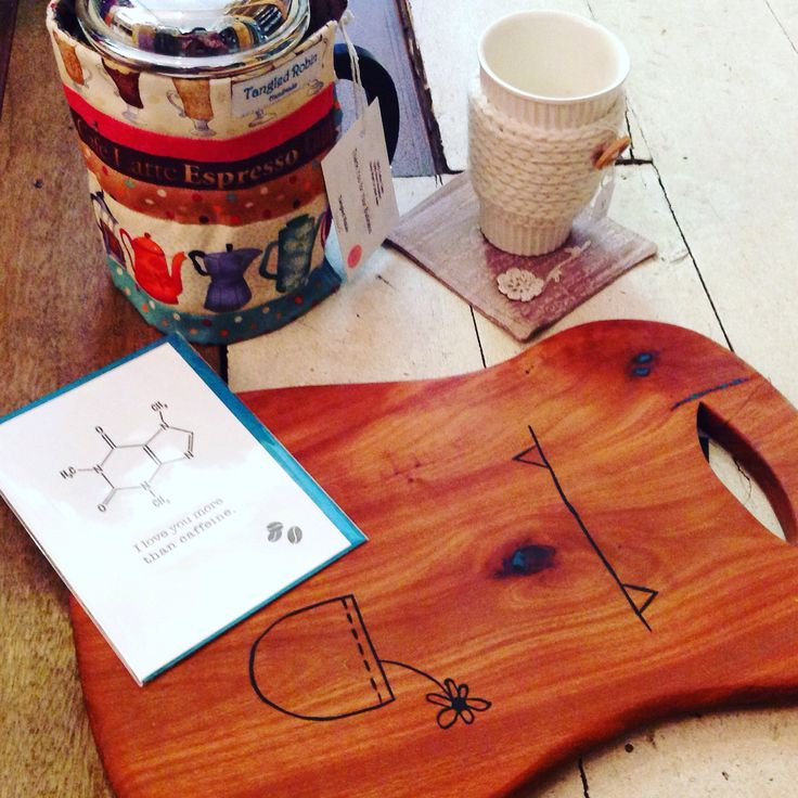 Coffee time at the Loft. Coffee related gifts and accessories. Coffee plunger warmer, ceramic cups, cup cozies, coasters and greeting cards.