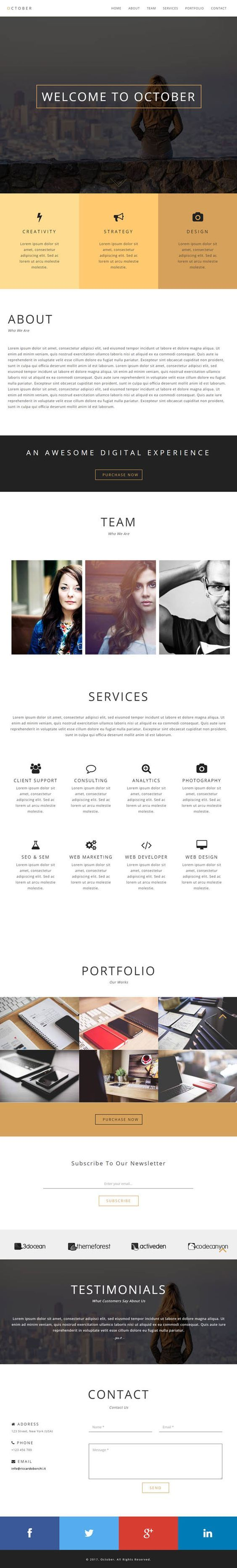 October - Responsive One Page WordPress Theme by RBWebDesign