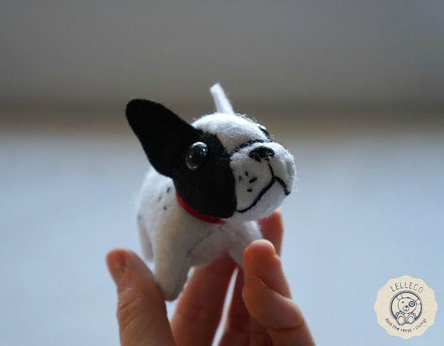 Peluche personalizado miniatura: bulldog francés Mini dog soft toy, soft sculpture. French bulldog handmade by Lelleco.