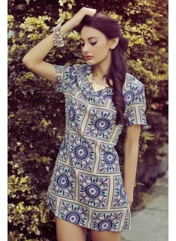 Scarf-Print-Shift-Dress
