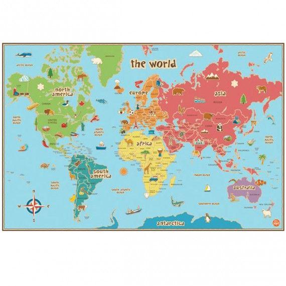 Carte du monde pour enfants adhésive repositionnable et effaçable à sec