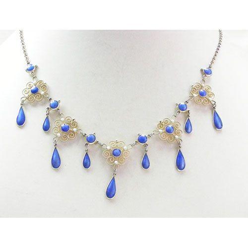 Scandinavian silver enamel necklace