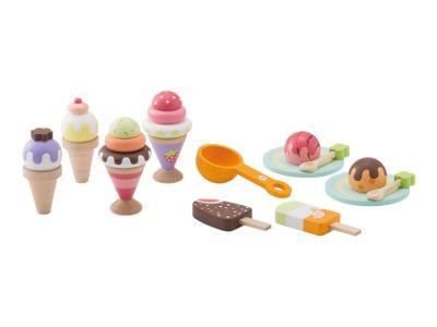 I bambini si divertirano a giocare con questo set di gelati! Include palline di gelato, due coni in legno, due cucchiai e due stecco gelato.