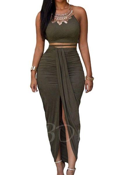 Halter Solid Color Pleated Women's Skirts Suit - m.tbdress.com