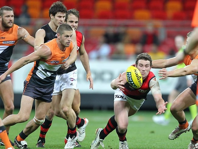 GWS Giants v Essendon Bombers at Skoda Stadium in Homebush. Second quarter. Picture: Rohan Kelly