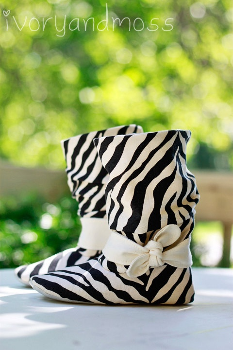 Girls Zebra Print Booties -- sold by ivoryandmoss on Etsy.