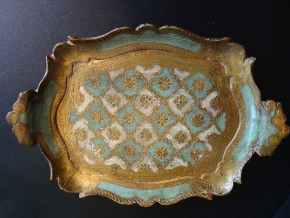 Vintage Florentine Style Tray Made in Italy by skinnygirldesigns, $34.50