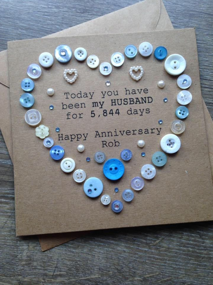 Husband Personalised Anniversary Card Button Art Design