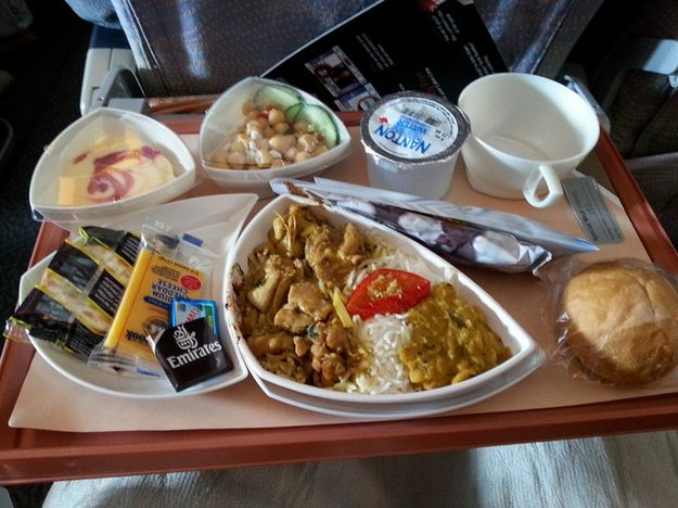 Dinner in economy class: | Airplane Food In Economy Vs. First Class On 20 Airlines