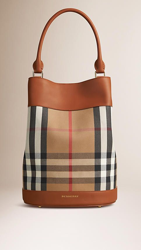 Light toffee The Bucket Bag in House Check and Leather - Image 1