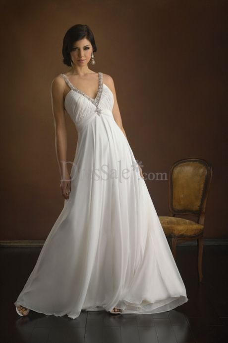 Graceful Grecian Wedding Dress with Beaded V-neckline