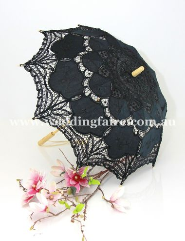 Vvintage Lace Parasol - Black. The Wedding Faire