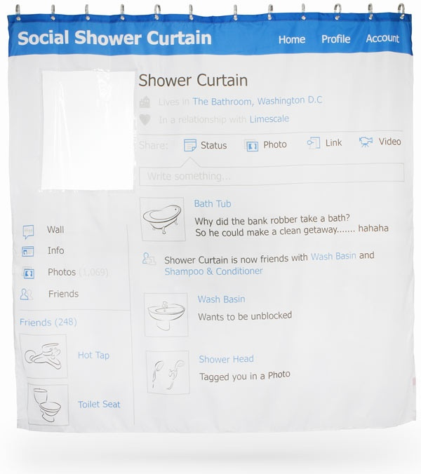 """Social Media Shower Curtain   Looks just like an old school (can we say that?) social media page - but it's a shower curtain!  The profile pic is see-through, so you can pop your head in for bathtime fun!  Made of polyester and vinyl.  Machine wash (gentle with cold water) and hang dry.  Dimensions: 70"""" x 70"""""""