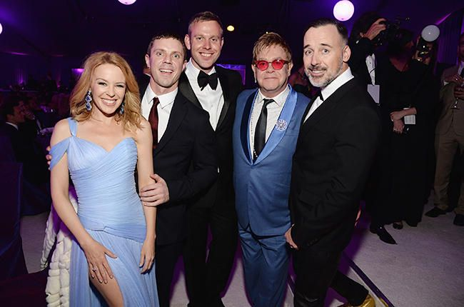 Kylie Minogue, Jake Shears of the band Scissor Sisters, guest, Sir Elton John and David Furnish Oscars 2015